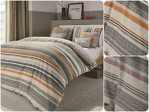 Striped-Reversible-Hatch-Textured-Print-Reverse-Duvet-Quilt-Cover-Set-Mens-New