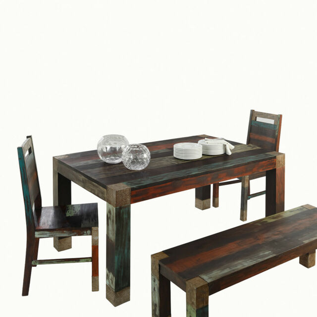 Tischgruppe Sitzgruppe Essgruppe Goa Massivholz Mango Used Look Bunt Wolf Mobel Ebay