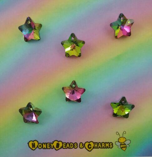 ❤ ❤ encantos de Arco Iris Estrella de Vidrio Paquete de 6 ❤ de manualidades//fabricación de joyas ❤ ❤ combinado P/&P