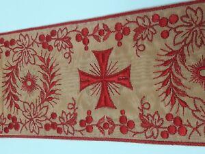 Orphrey-Vintage-Rojo-Encendido-Beige-Tafetan-Banda-para-Vestment-10-2cm-Vendido