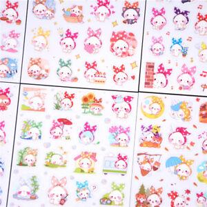 6pcs Cute scarf animal PVC paper sticker diy decoration album scrapbook sticker|