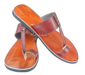 422e1050ebb773 Image is loading Men-Handmade-Leather-Sandal-Jesus-Sandals-Gents-Brown-