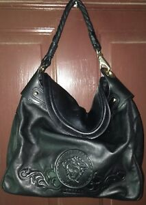 8688a42559 VERSACE Solid Black Soft Nappa Leather Medusa Head Front Snap Large ...
