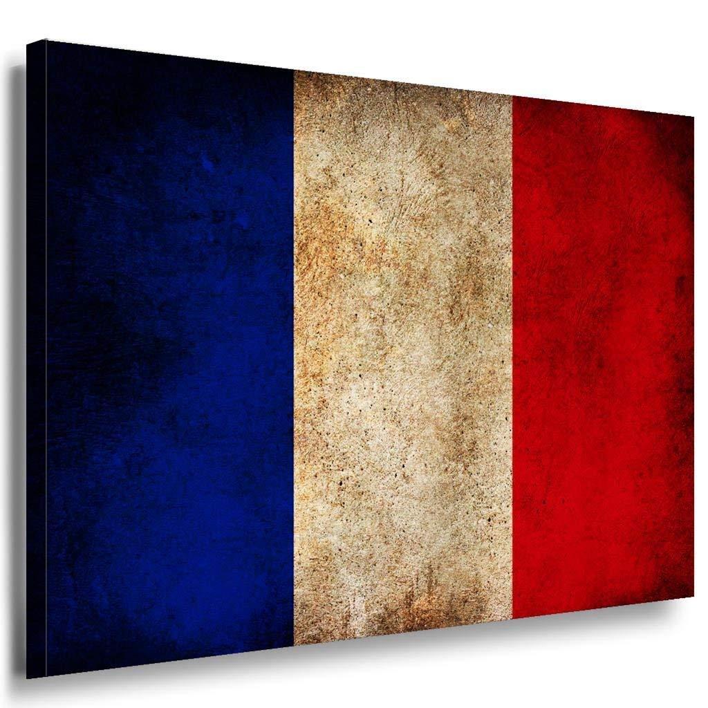 Flagge Frankreich Leinwandbild AK Art Bilder Mehrfarbig Kustdruck Wandbild XXL