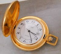 COLIBRI GOLD PLATED HUNTERS CASE POCKET WATCH DATE WINDOW RUNNING VINTAGE #927M