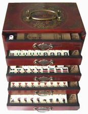 Chinese Antique Mahjong Set Wooden Case 144 Full set with box