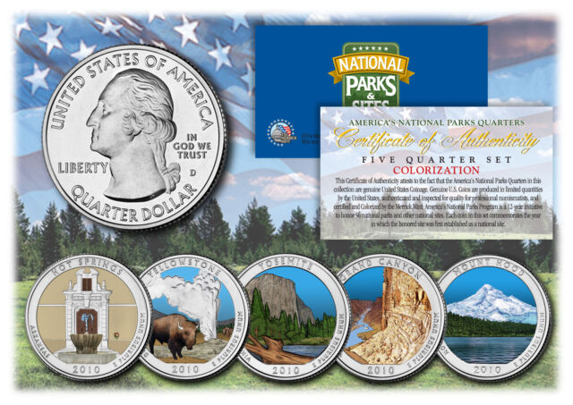 2010 Colorized USA National Parks 5 Quarters Set With Gift Box Certified
