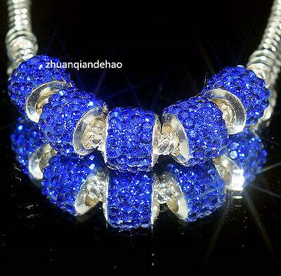 5p Gorgeous Czech Crystal Round Bead fit 925s European Charm Bracelet Chain k909