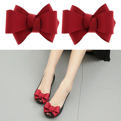 2PC Fashion Ribbon Bow Bowknot Shoe Clips Charms Buckle Removable Decoration