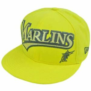 MLB Florida Marlins New Era 59Fifty 5950 Fitted Hat Cap Yellow On ... 7af13f44ef68