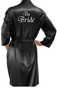 Personalised Ladies / Mans Black Satin Robe / Dressing Gown Wedding Bride Groom