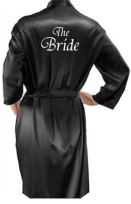 Personalised Ladies / Mans Black Satin Robe / Dressing Gown Wedding Bride Groom