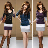 Womens Casual Slim Stripe Long Sleeve Bodycon Tunic Cocktail Party Mini Dress