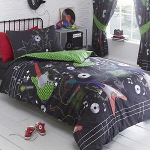 GUITAR ROCK SINGLE DUVET COVER SET MUSICAL BOYS TEENAGER BEDDING REVERSIBLE