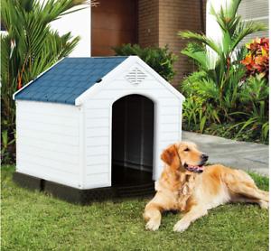 Large Dog House Outdoor Pet Shelter Weatherproof Kennel Raised Floor Indoor New