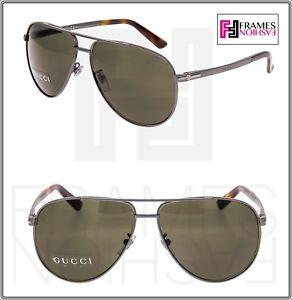e82ba59c84 Image is loading GUCCI-Aviator-GG2269S-Gunmetal-Steel-Green-Havana- Sunglasses-