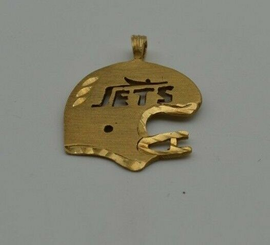 14K YELLOW gold NEW YORK JETS HELMET PENDANT CHARM (CH640)