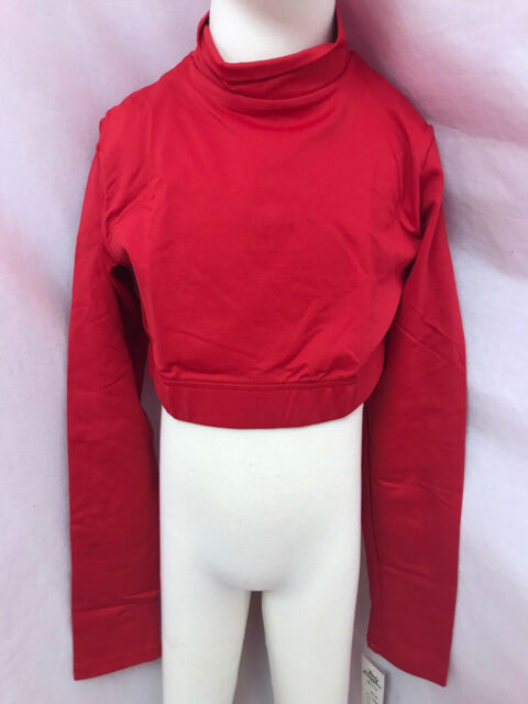 Body Wrappers Bw Prowear Cheer Pullover Dolcevita Corto, Rosso, Child 4-6, Nuovo