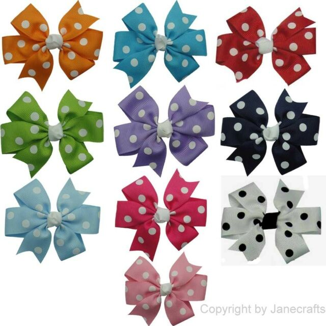 "10pcs Girl Baby/Toddler Grosgrain Polka Dot Daily Hair Bow 3"" in Mix 10 Color"