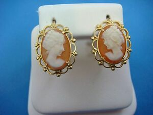 !STUNNING 18K YELLOW GOLD ANTIQUE CAMEO EARRINGS WITH SAFETY LOCKS 4.4 GRAMS