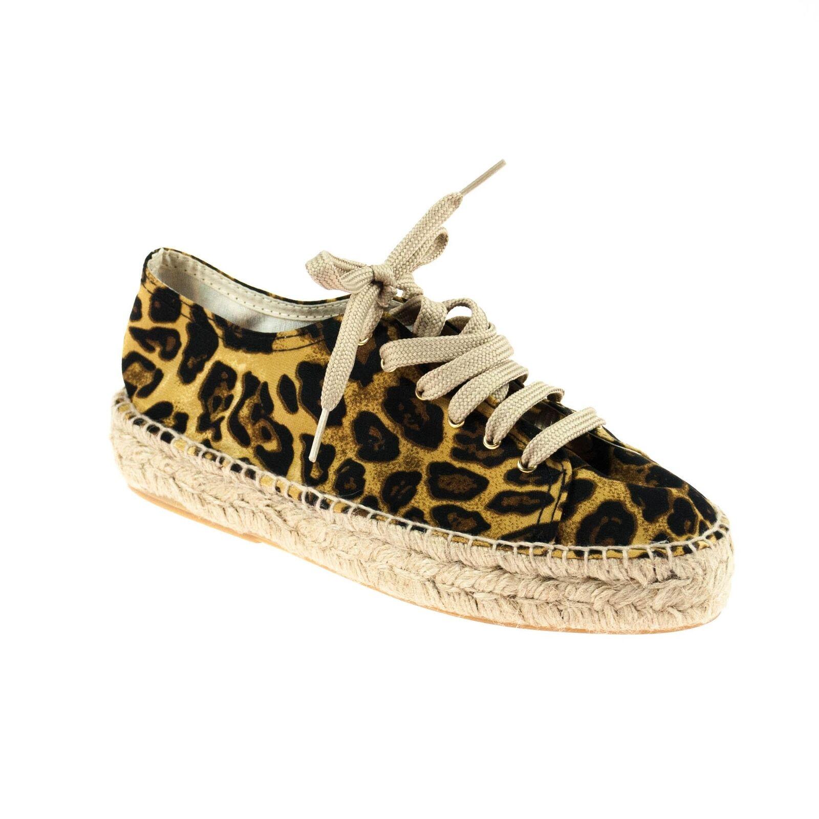 Maypol Damen Halbschuh Espandrillos Textil Leopardmuster