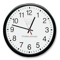 Charles Leonard Wall Clock 12 Plastic Black Frame/white Dial 76820 on sale