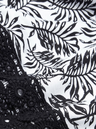 womens palm print short sleeve Anthology black and white gypsy top blouse
