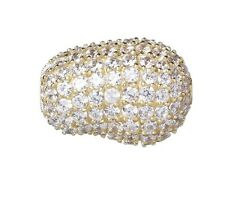 10mm x 15mm Jelly Bean Gold-Plated Sterling Silver and Clear CZ Stone Bead