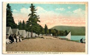 1925-Tents-at-Camp-of-the-Woods-on-the-Silver-Strand-Lake-Pleasant-NY-Postcard