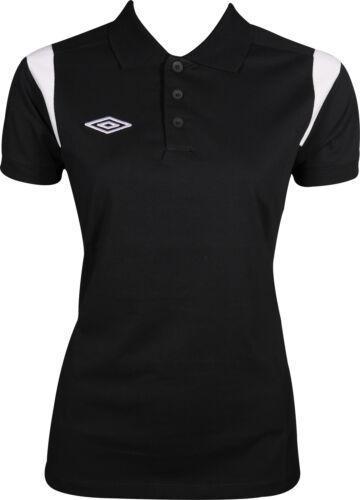 Black Umbro Poly Short Sleeve Womens Training Polo Shirt