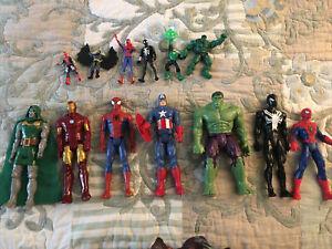 """Hasbro Marvel Super Hero 11-12"""" Menge 7 plus viele 5"""" Figuren Spiderman Hulk"""