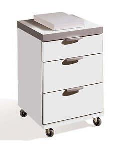 Buck cajonera blanco brillo con 3 cajones y ruedas para mesa oficina escritorio ebay - Mesa escritorio con ruedas ...