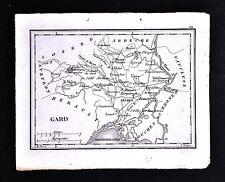 1833 Perrot Tardieu Miniature Map - Gard Nismes Uzes Le Vigan St. Gilles  France