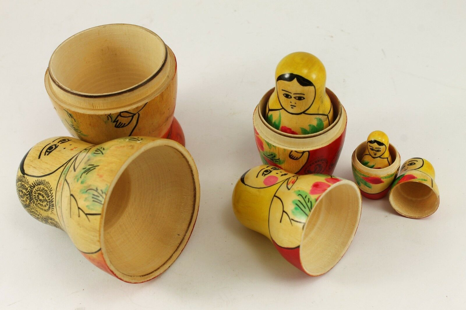 1965 Vintage Vintage Vintage Russian Wooden Dolls Set MATRYOSHKA Hand Painted 70da48