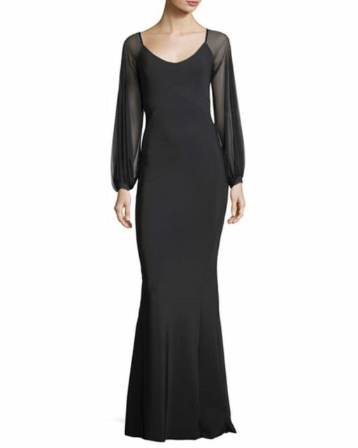 1f5c1126205 NWT Chiara Boni La Petite Robe Marlo Black Illusion Evening Gown 16  1090