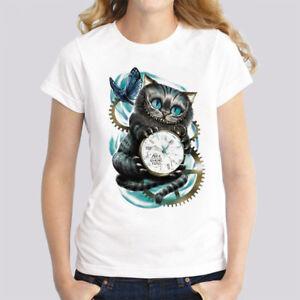 Women-039-s-Short-Sleeve-Alice-in-Wonderland-Cheshire-Cat-T-Shirt-Top-Tee-White
