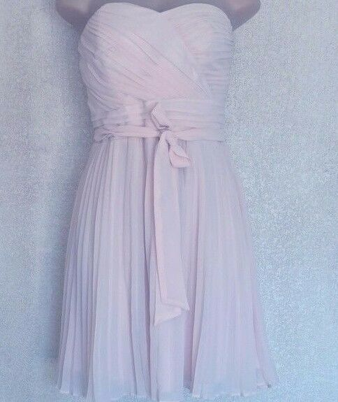 Express Women's Pleated Tube Top Dress Sheer Overlay Light Pink Size 10