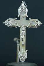 Superb  large antique french Pectoral Cross Silver mother of pearl Fleur de Lys