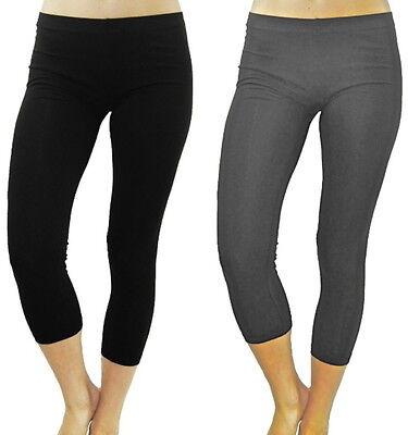 XL//1X-2X-3X NEW Plus Size Cotton//Spandex Long Basic Leggings and Capri Leggings