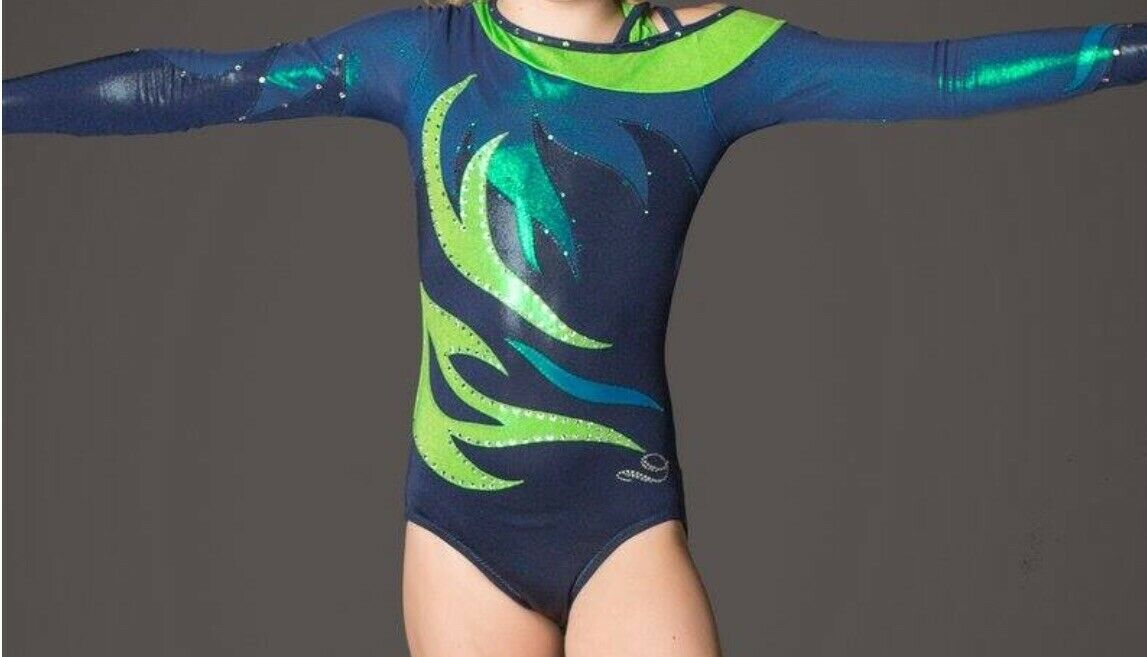 Drea ight Leotard Long Sleeve With  Real Swarovski Crystals Size  ld 10-12  all products get up to 34% off