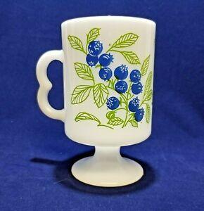 Vtg Milk Glass Blueberries Pedestal Mug Irish Coffee Or Tea Cup Made In Usa Ebay