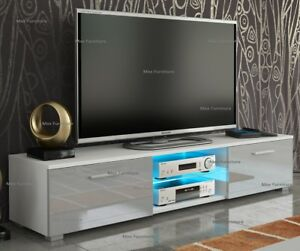 new concept 8832b aaf28 Details about Modern 160cm TV Unit Cabinet TV Stand - Matt Body & High  Gloss Doors LED