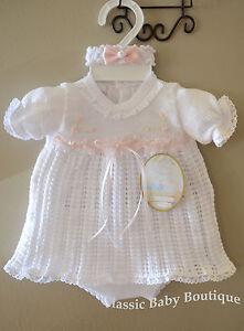 NWT-Will-039-beth-White-Pink-Knit-Girls-Dress-3pc-Set-Preemie-Headband-amp-Bloomers