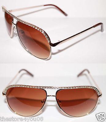 Women's Aviator Rhinestone Sunglasses Metal Brown Frame Medium Brown Lens 232