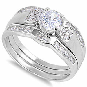 ELEGANT-WHITE-CZ-BRIDAL-SET-925-Sterling-Silver-Ring-SIZES-6-10