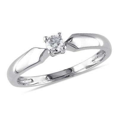 Amour 1/10 CT TW Diamond Solitaire Engagement Ring in 10k White Gold