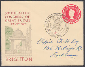1956-Brighton-Philatelic-Congress-SHS-2-1-2d-Embossed-Stationery-Envelope
