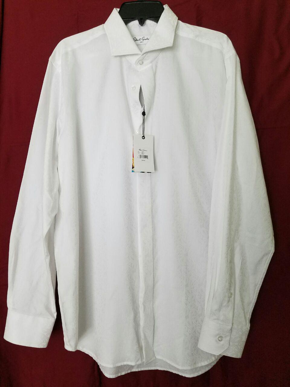 NWT Robert Graham Cont Dress Shirt RGD1217 White Size 43 17