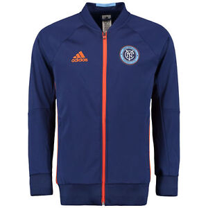 pretty nice 90170 5e6a1 Details about Adidas Men's New York City FC Travel Full Zip Hoodie  (Navy/Orange) AC0081