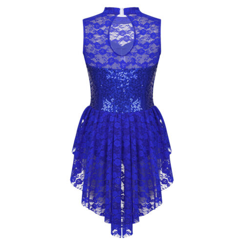 Floral Lace Girl Ice Skating Dress Roller Skating Competition Dancing Costume UK
